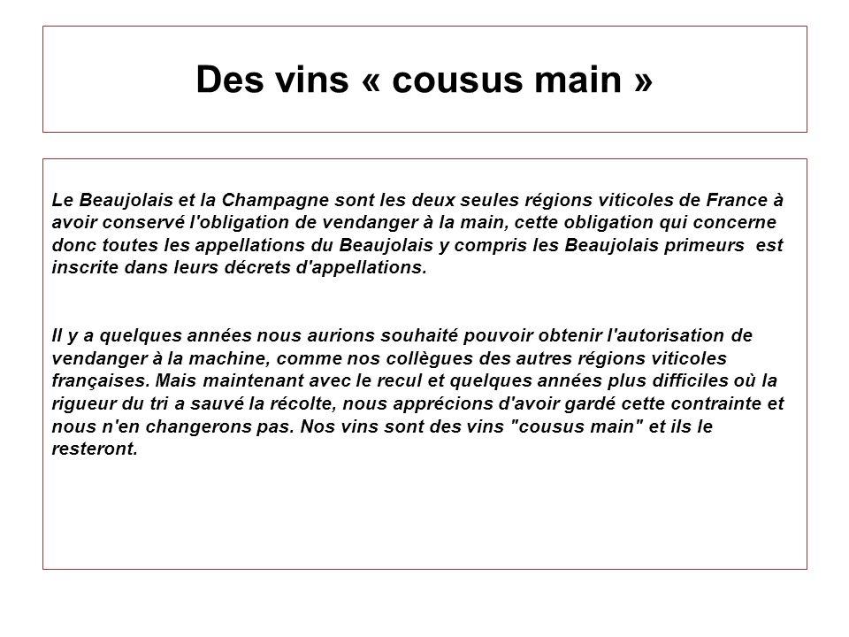 Des vins « cousus main » Le Beaujolais et la Champagne sont les deux seules régions viticoles de France à avoir conservé l'obligation de vendanger à l