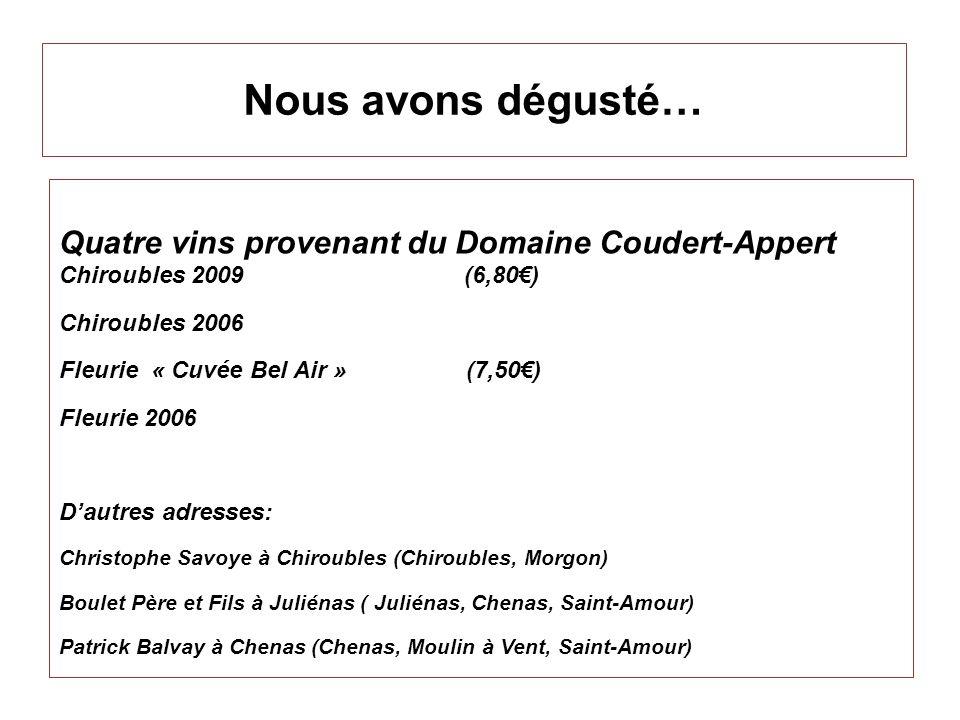 Nous avons dégusté… Quatre vins provenant du Domaine Coudert-Appert Chiroubles 2009 (6,80) Chiroubles 2006 Fleurie « Cuvée Bel Air » (7,50) Fleurie 20