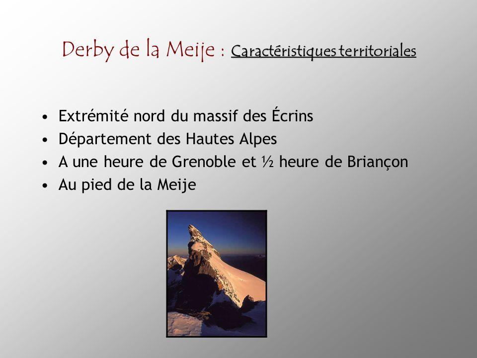 Caractéristiques territoriales Derby de la Meije : Caractéristiques territoriales Extrémité nord du massif des Écrins Département des Hautes Alpes A une heure de Grenoble et ½ heure de Briançon Au pied de la Meije