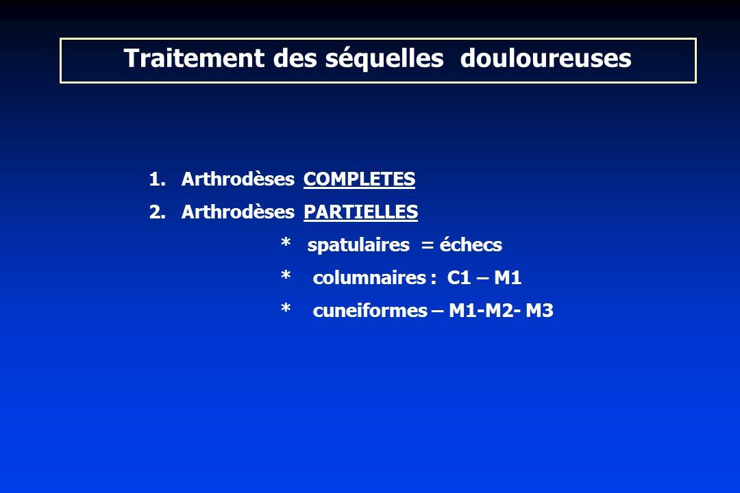 Traitement des séquelles douloureuses 1. 1.Arthrodèses COMPLETES 2. 2.Arthrodèses PARTIELLES * spatulaires = échecs * columnaires : C1 – M1 * cuneifor