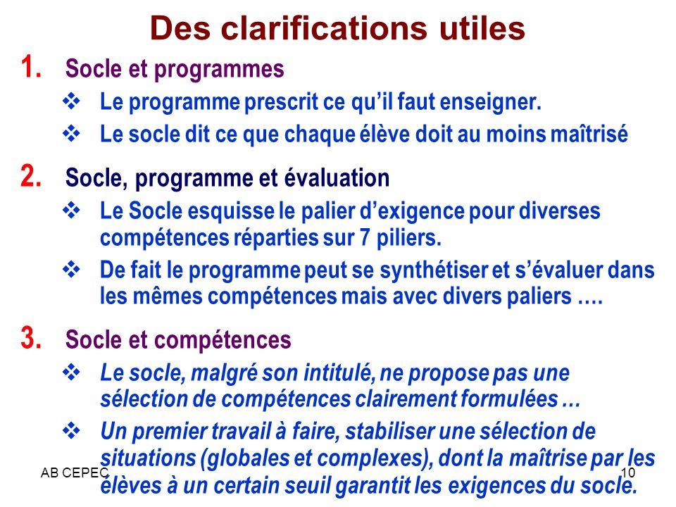 AB CEPEC10 Des clarifications utiles 1. Socle et programmes Le programme prescrit ce quil faut enseigner. Le socle dit ce que chaque élève doit au moi