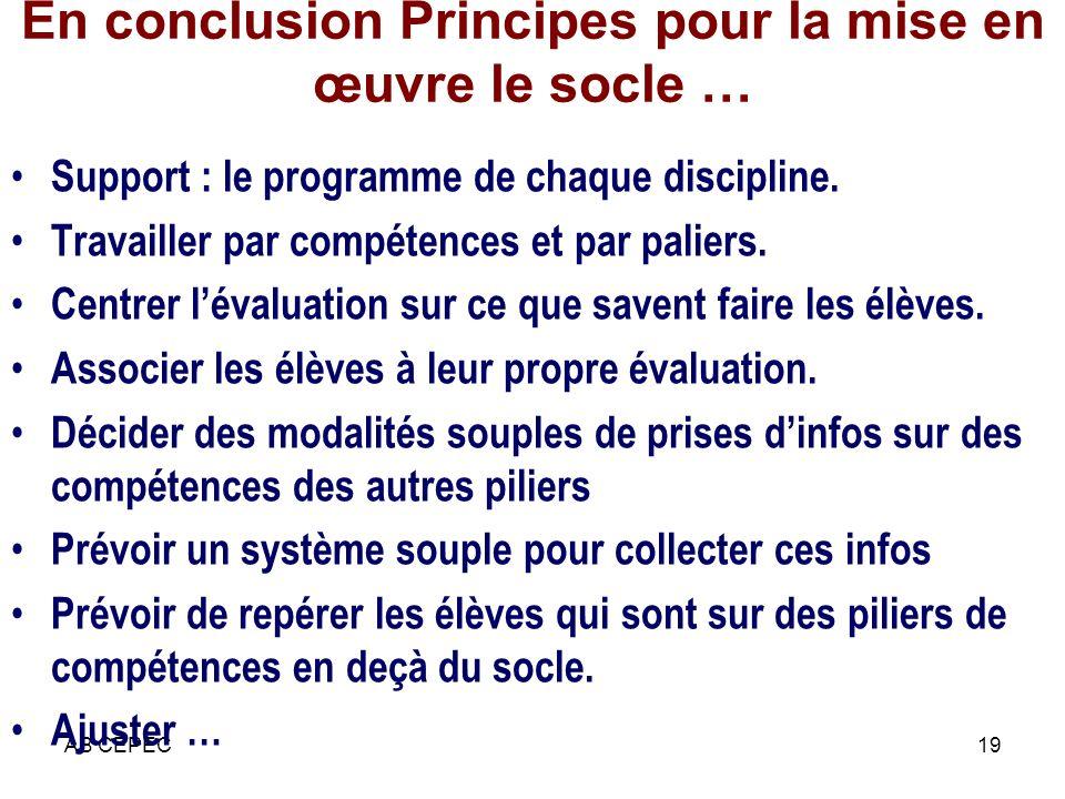 AB CEPEC19 En conclusion Principes pour la mise en œuvre le socle … Support : le programme de chaque discipline. Travailler par compétences et par pal