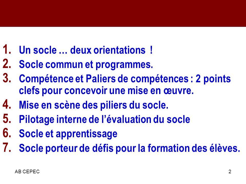 AB CEPEC2 Plan de la présentation 1. Un socle … deux orientations ! 2. Socle commun et programmes. 3. Compétence et Paliers de compétences : 2 points