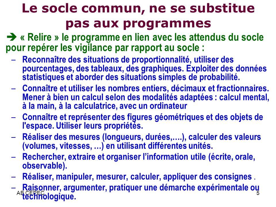 AB CEPEC5 Le socle commun, ne se substitue pas aux programmes « Relire » le programme en lien avec les attendus du socle pour repérer les vigilance pa