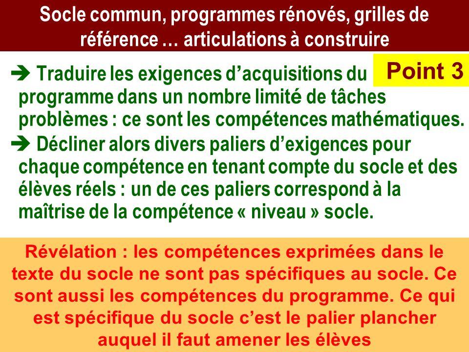 AB CEPEC6 Socle commun, programmes rénovés, grilles de référence … articulations à construire Traduire les exigences d acquisitions du programme dans