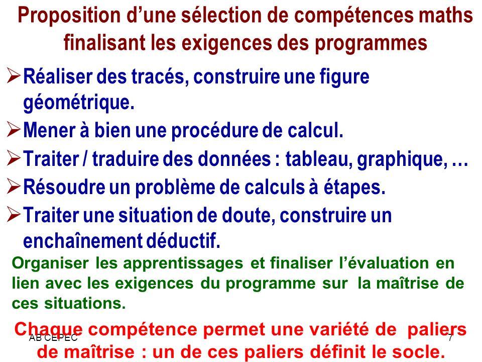 AB CEPEC8 Compétence : un système de savoirs, savoir-faire, savoir-être produit d apprentissages nombreux, intériorisés par l individu et orientés vers la maîtrise de situations globales et complexes.