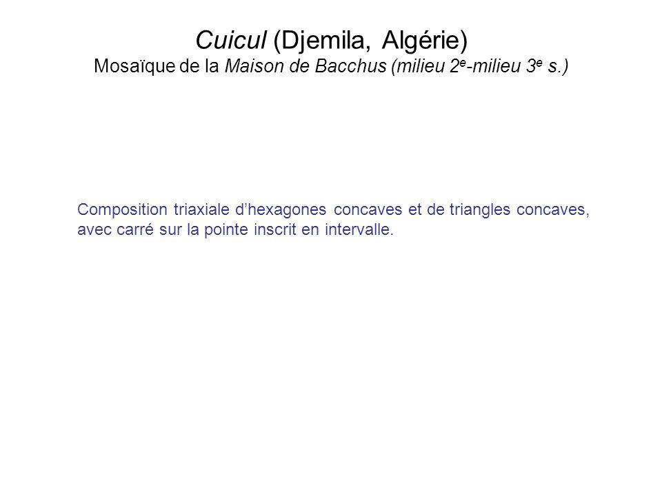 Cuicul (Djemila, Algérie) Mosaïque de la Maison de Bacchus (milieu 2 e -milieu 3 e s.) Composition triaxiale dhexagones concaves et de triangles conca