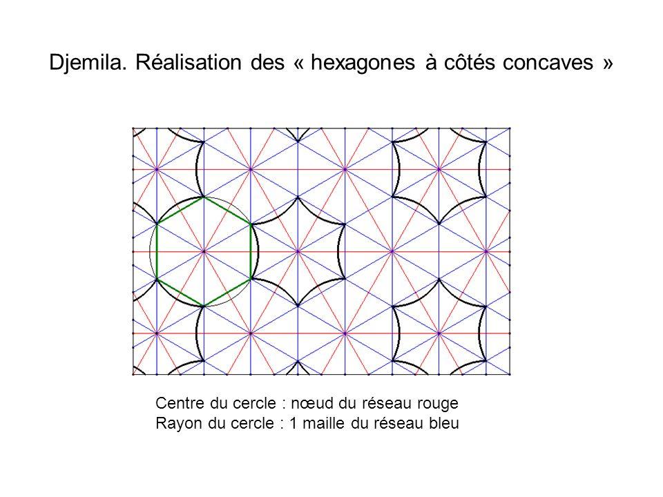 Djemila. Réalisation des « hexagones à côtés concaves » Centre du cercle : nœud du réseau rouge Rayon du cercle : 1 maille du réseau bleu