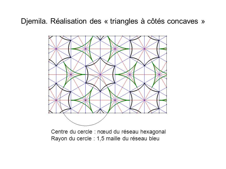 Djemila. Réalisation des « triangles à côtés concaves » Centre du cercle : nœud du réseau hexagonal Rayon du cercle : 1,5 maille du réseau bleu