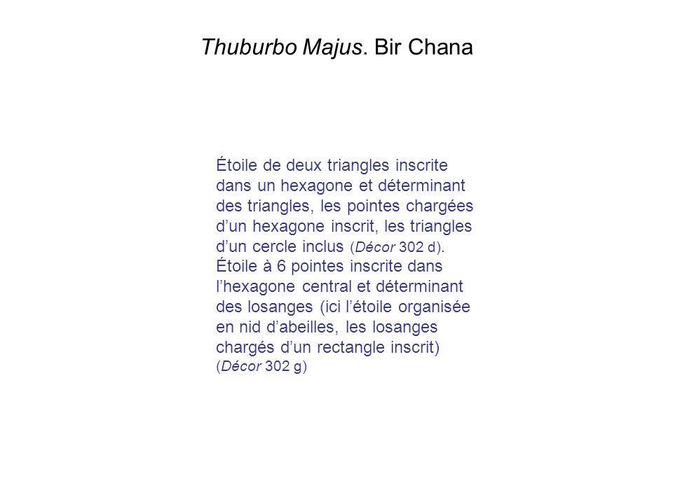 Thuburbo Majus. Bir Chana Étoile de deux triangles inscrite dans un hexagone et déterminant des triangles, les pointes chargées dun hexagone inscrit,