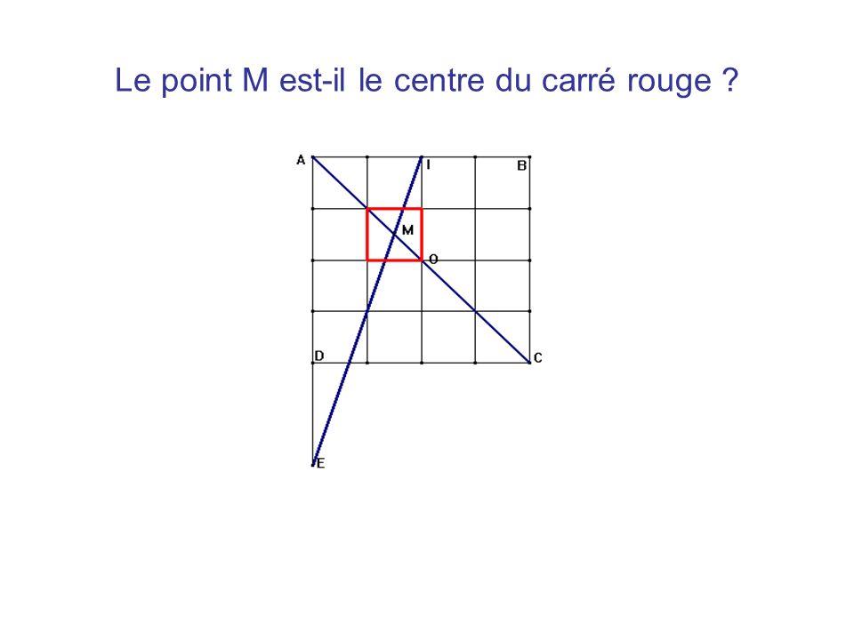 Le point M est-il le centre du carré rouge ?