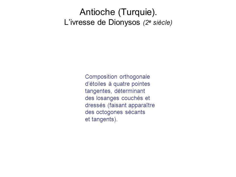 Antioche (Turquie). Livresse de Dionysos (2 e siècle) Composition orthogonale détoiles à quatre pointes tangentes, déterminant des losanges couchés et