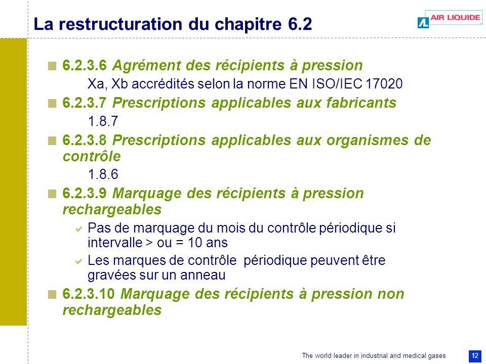 The world leader in industrial and medical gases 12 La restructuration du chapitre 6.2 6.2.3.6 Agrément des récipients à pression Xa, Xb accrédités selon la norme EN ISO/IEC 17020 6.2.3.7 Prescriptions applicables aux fabricants 1.8.7 6.2.3.8 Prescriptions applicables aux organismes de contrôle 1.8.6 6.2.3.9 Marquage des récipients à pression rechargeables Pas de marquage du mois du contrôle périodique si intervalle > ou = 10 ans Les marques de contrôle périodique peuvent être gravées sur un anneau 6.2.3.10 Marquage des récipients à pression non rechargeables