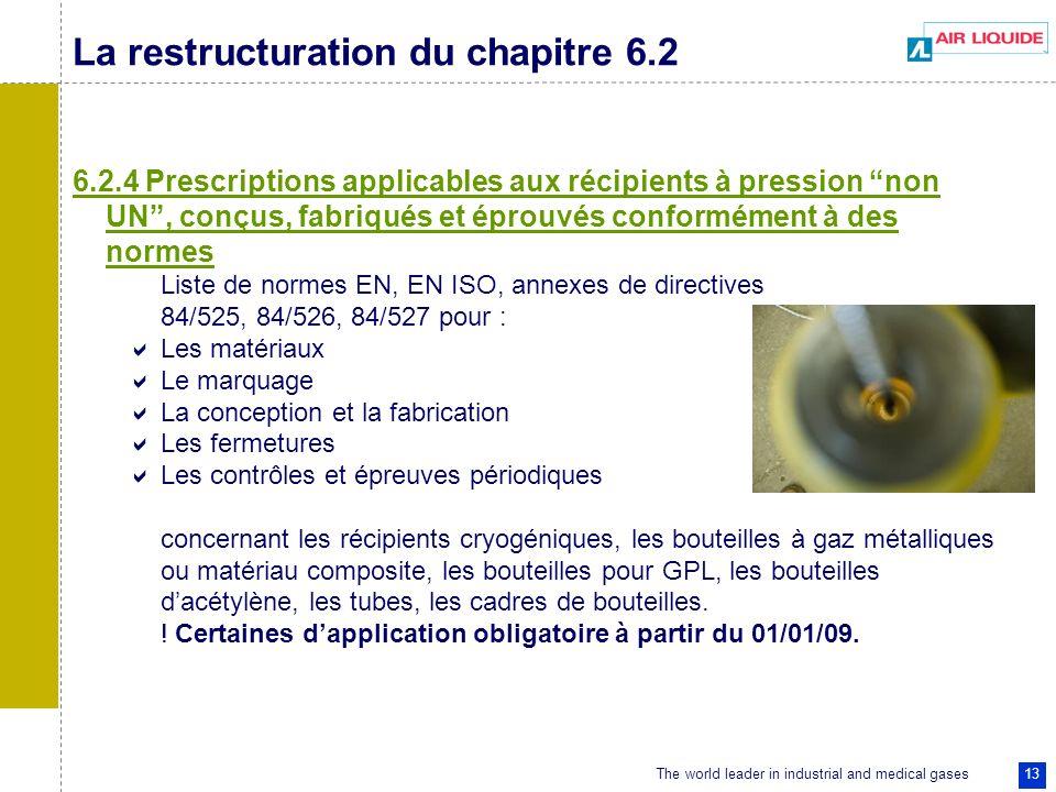 The world leader in industrial and medical gases 13 La restructuration du chapitre 6.2 6.2.4 Prescriptions applicables aux récipients à pression non U