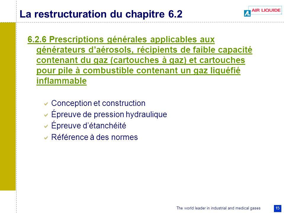 The world leader in industrial and medical gases 15 La restructuration du chapitre 6.2 6.2.6 Prescriptions générales applicables aux générateurs daéro