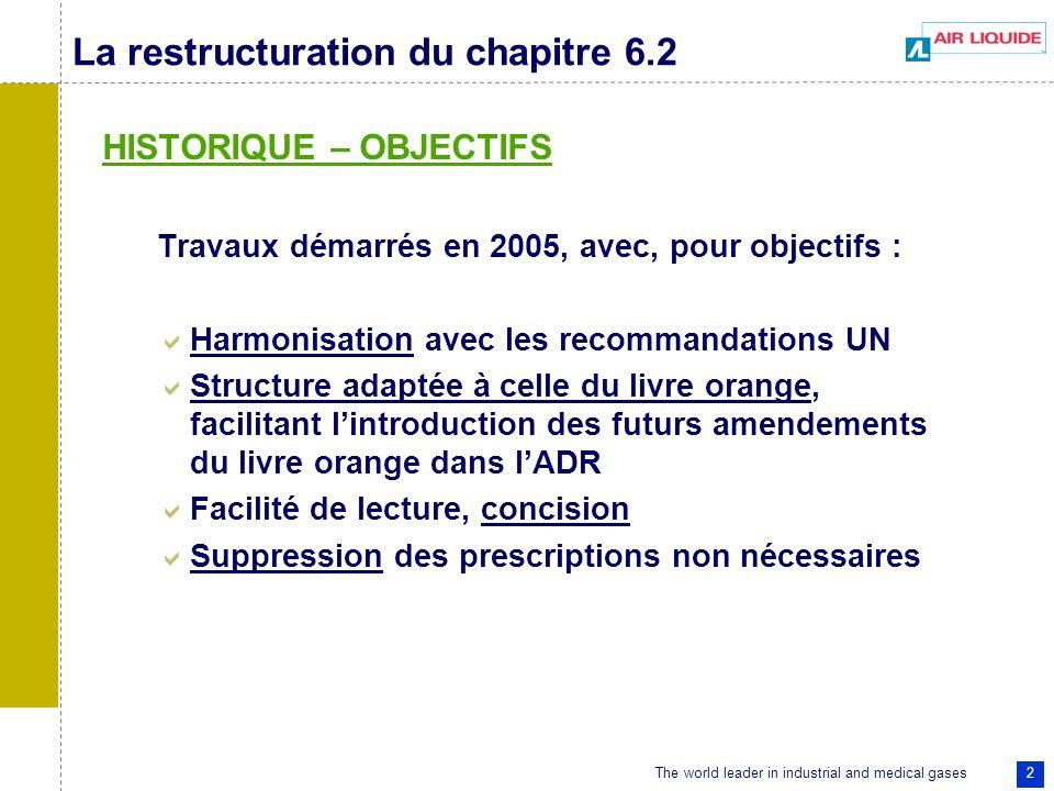 The world leader in industrial and medical gases 2 La restructuration du chapitre 6.2 HISTORIQUE – OBJECTIFS Travaux démarrés en 2005, avec, pour obje
