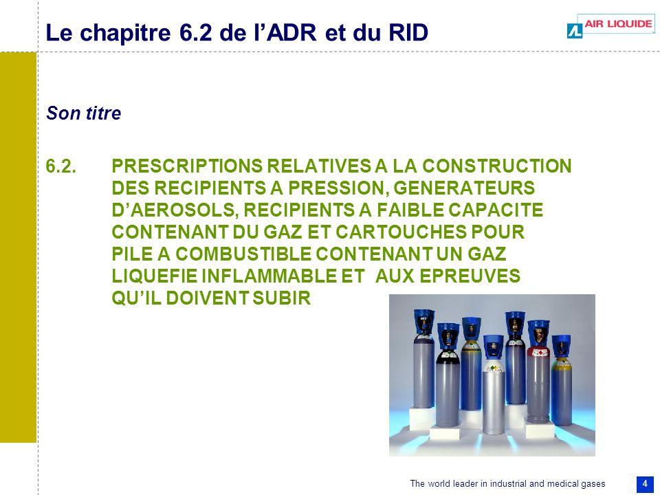 The world leader in industrial and medical gases 4 Le chapitre 6.2 de lADR et du RID Son titre 6.2. PRESCRIPTIONS RELATIVES A LA CONSTRUCTION DES RECI