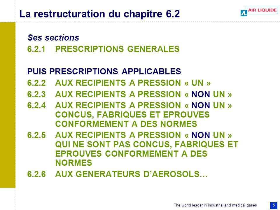 The world leader in industrial and medical gases 5 La restructuration du chapitre 6.2 Ses sections 6.2.1PRESCRIPTIONS GENERALES PUIS PRESCRIPTIONS APPLICABLES 6.2.2AUX RECIPIENTS A PRESSION « UN » 6.2.3AUX RECIPIENTS A PRESSION « NON UN » 6.2.4AUX RECIPIENTS A PRESSION « NON UN » CONCUS, FABRIQUES ET EPROUVES CONFORMEMENT A DES NORMES 6.2.5AUX RECIPIENTS A PRESSION « NON UN » QUI NE SONT PAS CONCUS, FABRIQUES ET EPROUVES CONFORMEMENT A DES NORMES 6.2.6AUX GENERATEURS DAEROSOLS…
