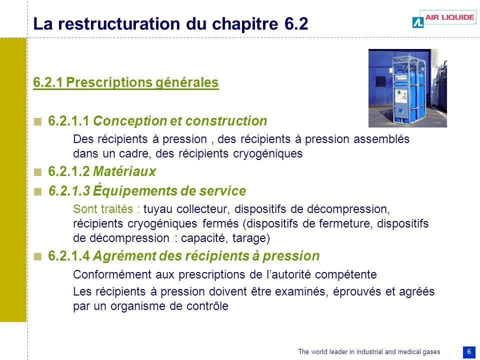 The world leader in industrial and medical gases 6 La restructuration du chapitre 6.2 6.2.1 Prescriptions générales 6.2.1.1 Conception et construction Des récipients à pression, des récipients à pression assemblés dans un cadre, des récipients cryogéniques 6.2.1.2 Matériaux 6.2.1.3 Équipements de service Sont traités : tuyau collecteur, dispositifs de décompression, récipients cryogéniques fermés (dispositifs de fermeture, dispositifs de décompression : capacité, tarage) 6.2.1.4 Agrément des récipients à pression Conformément aux prescriptions de lautorité compétente Les récipients à pression doivent être examinés, éprouvés et agréés par un organisme de contrôle