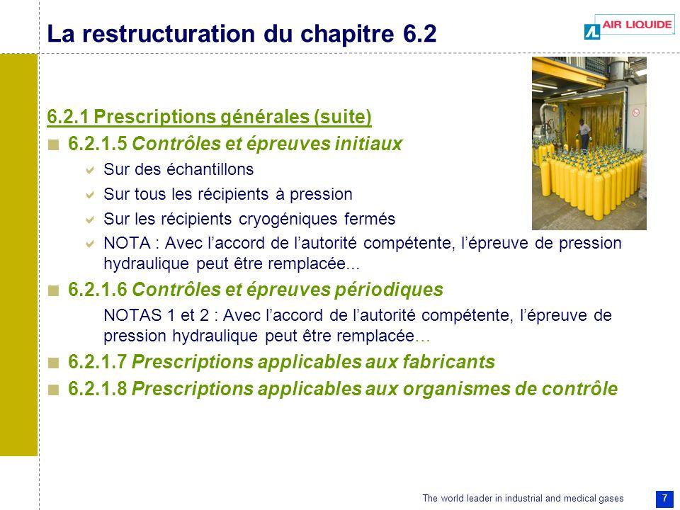 The world leader in industrial and medical gases 7 La restructuration du chapitre 6.2 6.2.1 Prescriptions générales (suite) 6.2.1.5 Contrôles et épreu