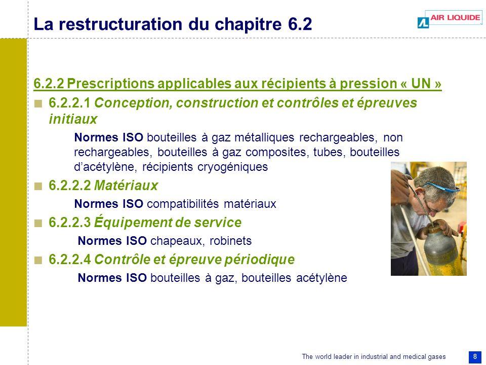 The world leader in industrial and medical gases 8 La restructuration du chapitre 6.2 6.2.2 Prescriptions applicables aux récipients à pression « UN » 6.2.2.1 Conception, construction et contrôles et épreuves initiaux Normes ISO bouteilles à gaz métalliques rechargeables, non rechargeables, bouteilles à gaz composites, tubes, bouteilles dacétylène, récipients cryogéniques 6.2.2.2 Matériaux Normes ISO compatibilités matériaux 6.2.2.3 Équipement de service Normes ISO chapeaux, robinets 6.2.2.4 Contrôle et épreuve périodique Normes ISO bouteilles à gaz, bouteilles acétylène