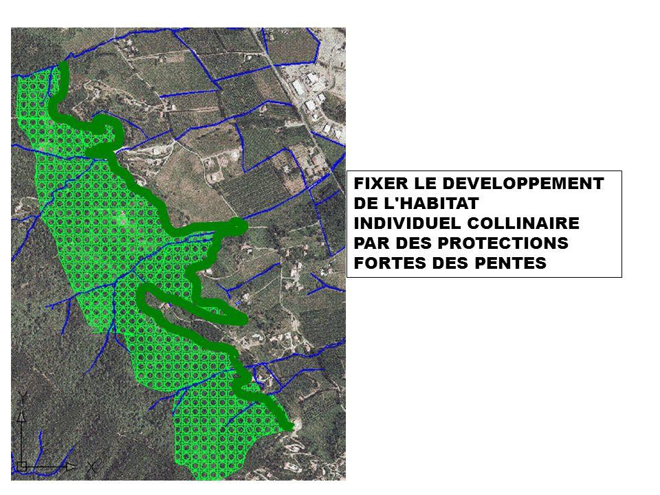 FIXER LE DEVELOPPEMENT DE L'HABITAT INDIVIDUEL COLLINAIRE PAR DES PROTECTIONS FORTES DES PENTES