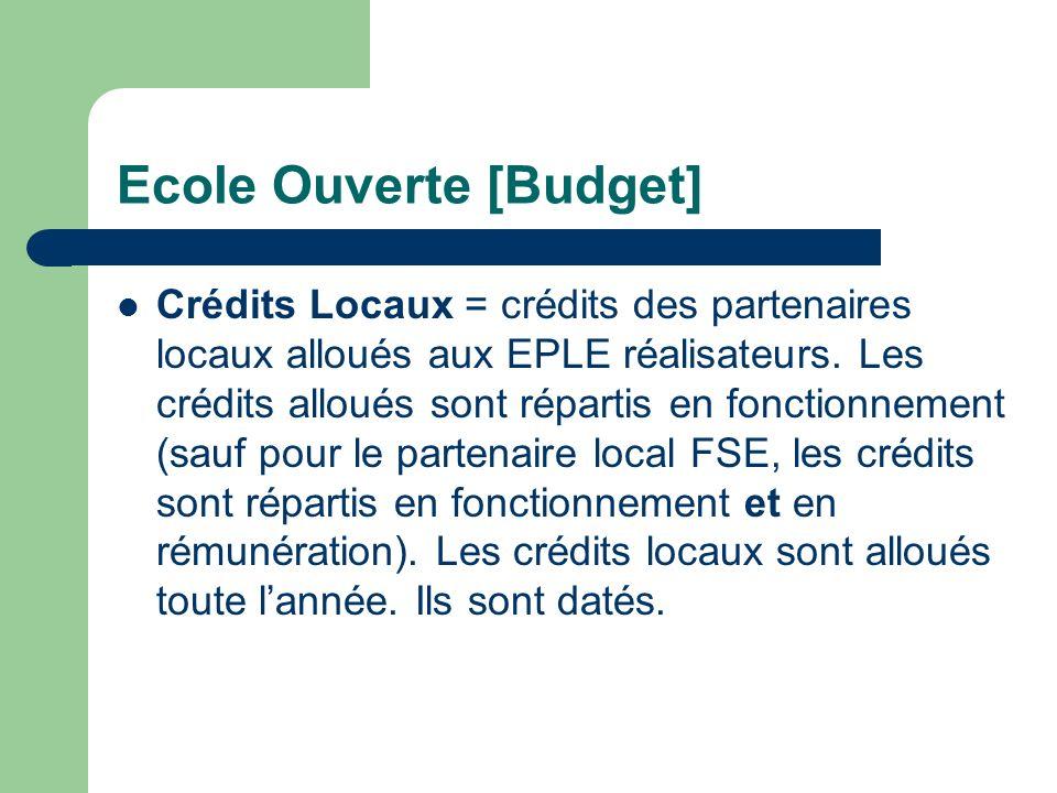 Ecole Ouverte [Budget] Crédits Académiques (voir « Crédits par établissement » pour les EPLE réalisateurs) = Crédits nationaux répartis entre les EPLE
