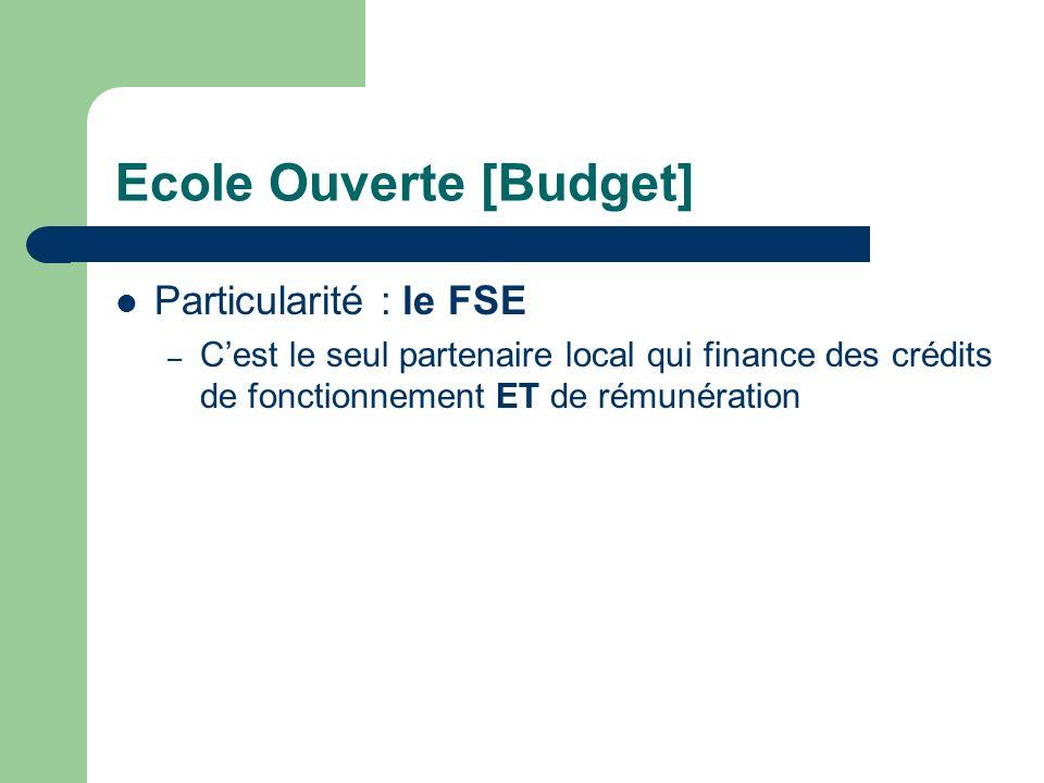 Ecole Ouverte [Budget] Crédits Locaux = crédits des partenaires locaux alloués aux EPLE réalisateurs. Les crédits alloués sont répartis en fonctionnem