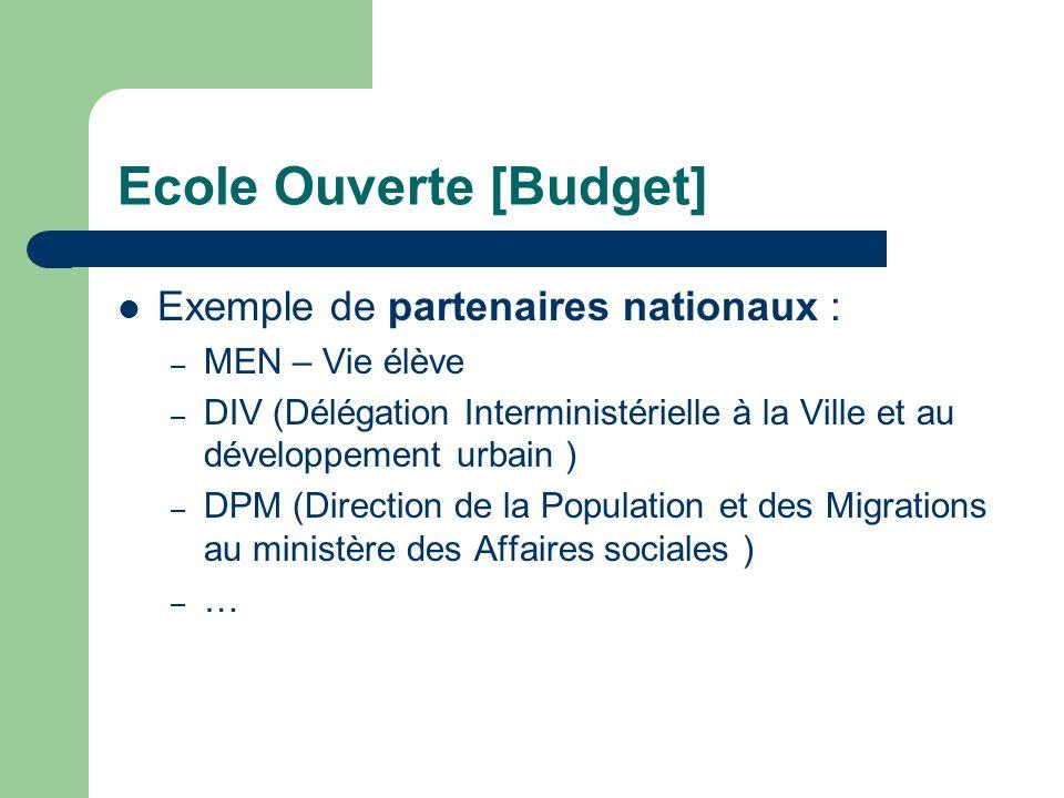 Ecole Ouverte [Budget] Exemple de partenaires nationaux : – MEN – Vie élève – DIV (Délégation Interministérielle à la Ville et au développement urbain ) – DPM (Direction de la Population et des Migrations au ministère des Affaires sociales ) – …
