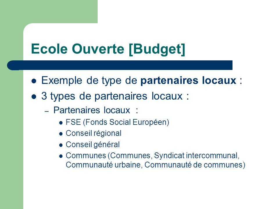 Ecole Ouverte [Budget] Exemple de type de partenaires locaux : 3 types de partenaires locaux : – Partenaires locaux : FSE (Fonds Social Européen) Conseil régional Conseil général Communes (Communes, Syndicat intercommunal, Communauté urbaine, Communauté de communes)