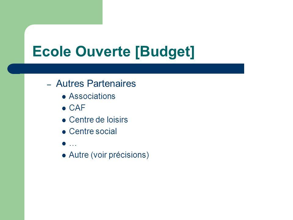 Ecole Ouverte [Budget] – Autres Partenaires Associations CAF Centre de loisirs Centre social … Autre (voir précisions)