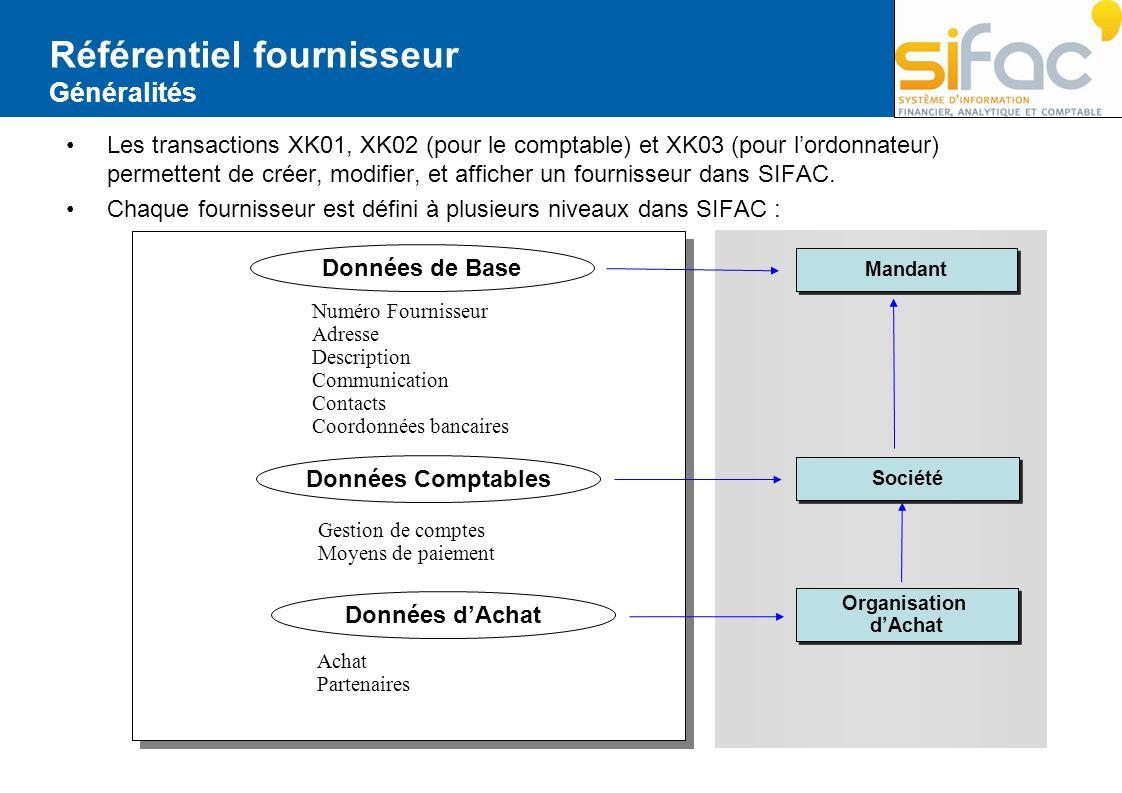 Les transactions XK01, XK02 (pour le comptable) et XK03 (pour lordonnateur) permettent de créer, modifier, et afficher un fournisseur dans SIFAC. Chaq