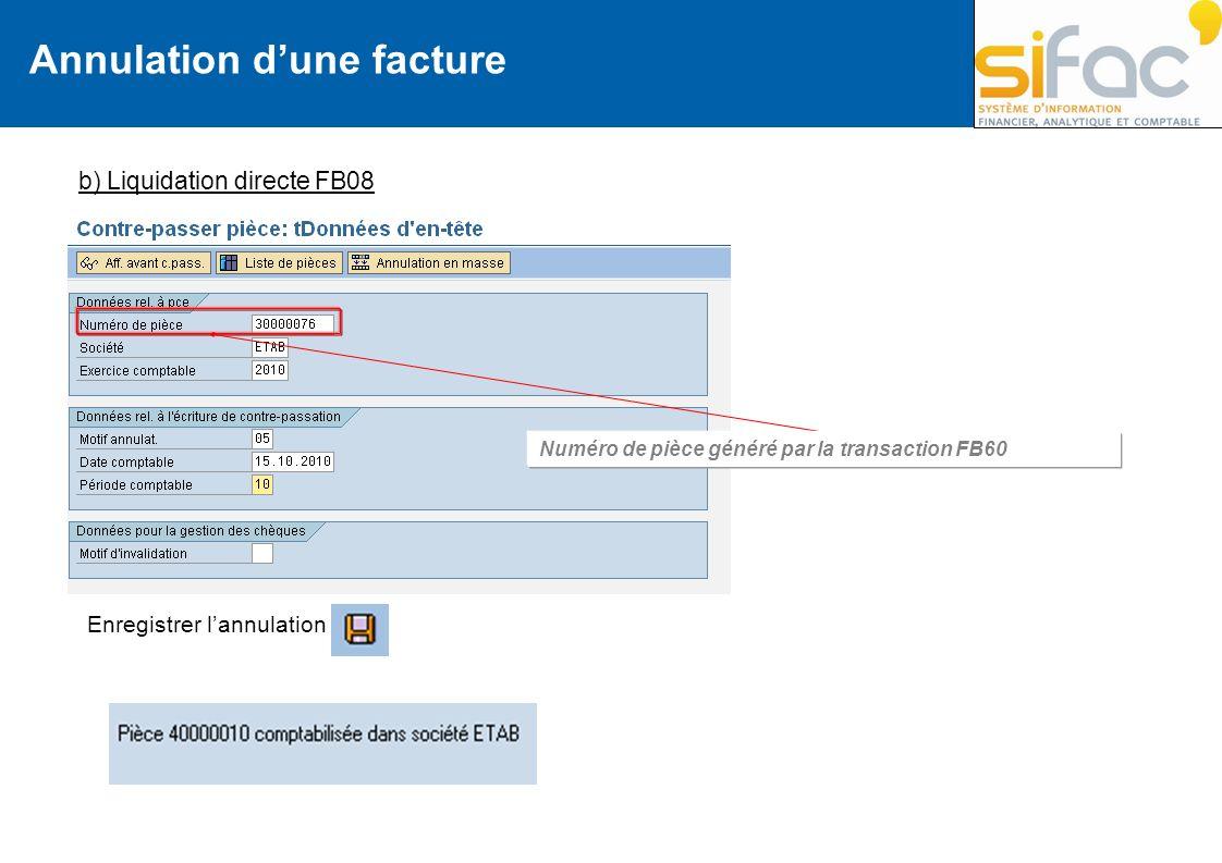 Annulation dune facture b) Liquidation directe FB08 Numéro de pièce généré par la transaction FB60 Enregistrer lannulation