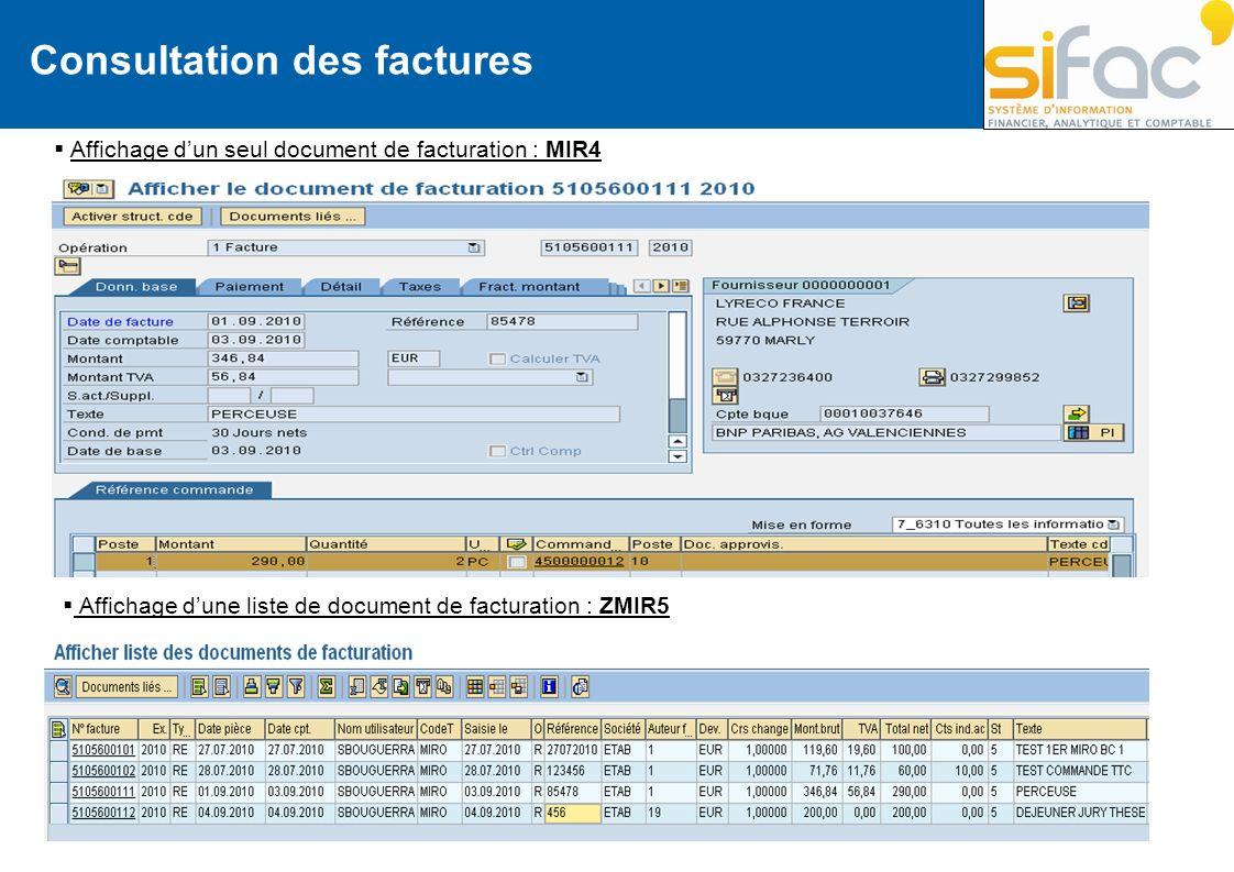 Consultation des factures Affichage dun seul document de facturation : MIR4 Affichage dune liste de document de facturation : ZMIR5