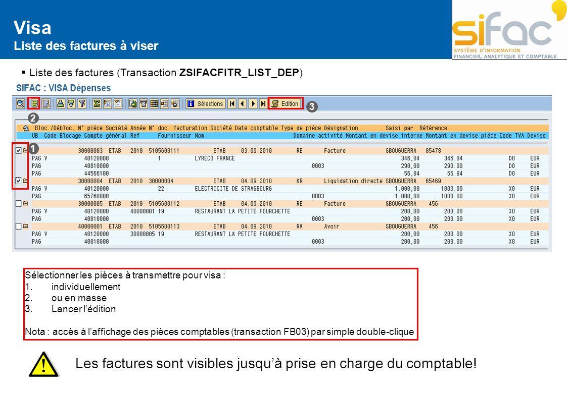 Visa Liste des factures à viser Liste des factures (Transaction ZSIFACFITR_LIST_DEP) Sélectionner les pièces à transmettre pour visa : 1. individuelle