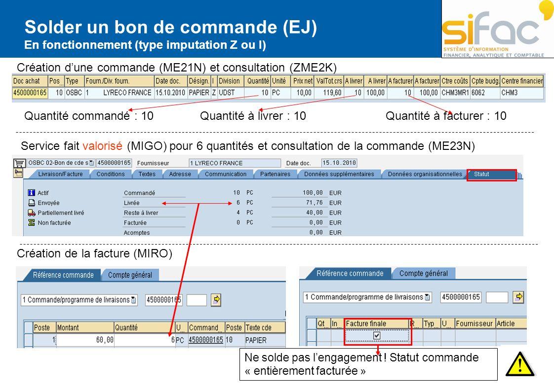 Solder un bon de commande (EJ) En fonctionnement (type imputation Z ou I) Création dune commande (ME21N) et consultation (ZME2K) Quantité commandé : 1