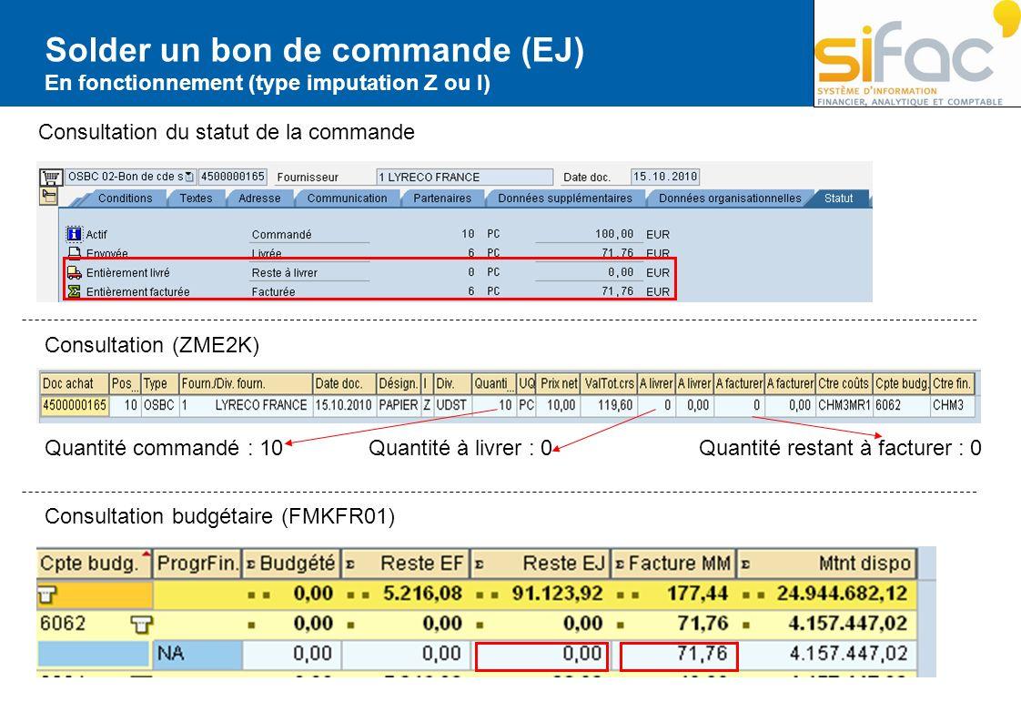 Solder un bon de commande (EJ) En fonctionnement (type imputation Z ou I) Consultation du statut de la commande Consultation budgétaire (FMKFR01) Cons