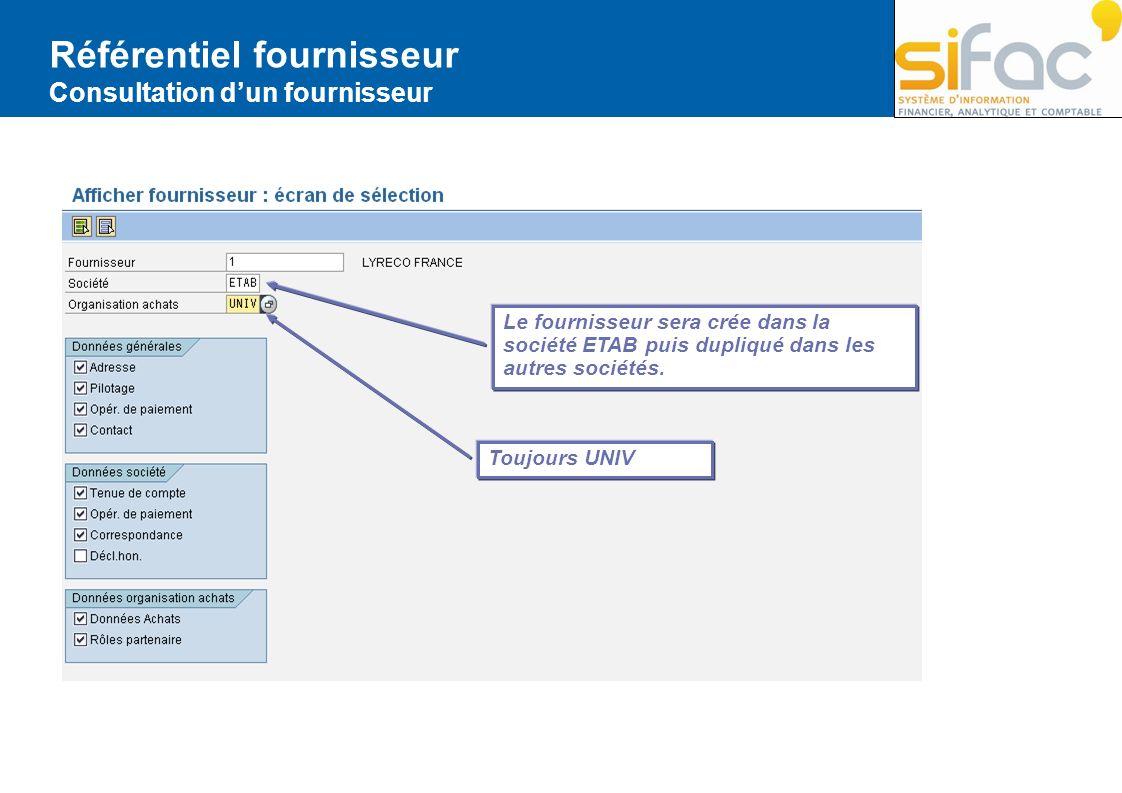 Référentiel fournisseur Consultation dun fournisseur Toujours UNIV Le fournisseur sera crée dans la société ETAB puis dupliqué dans les autres société