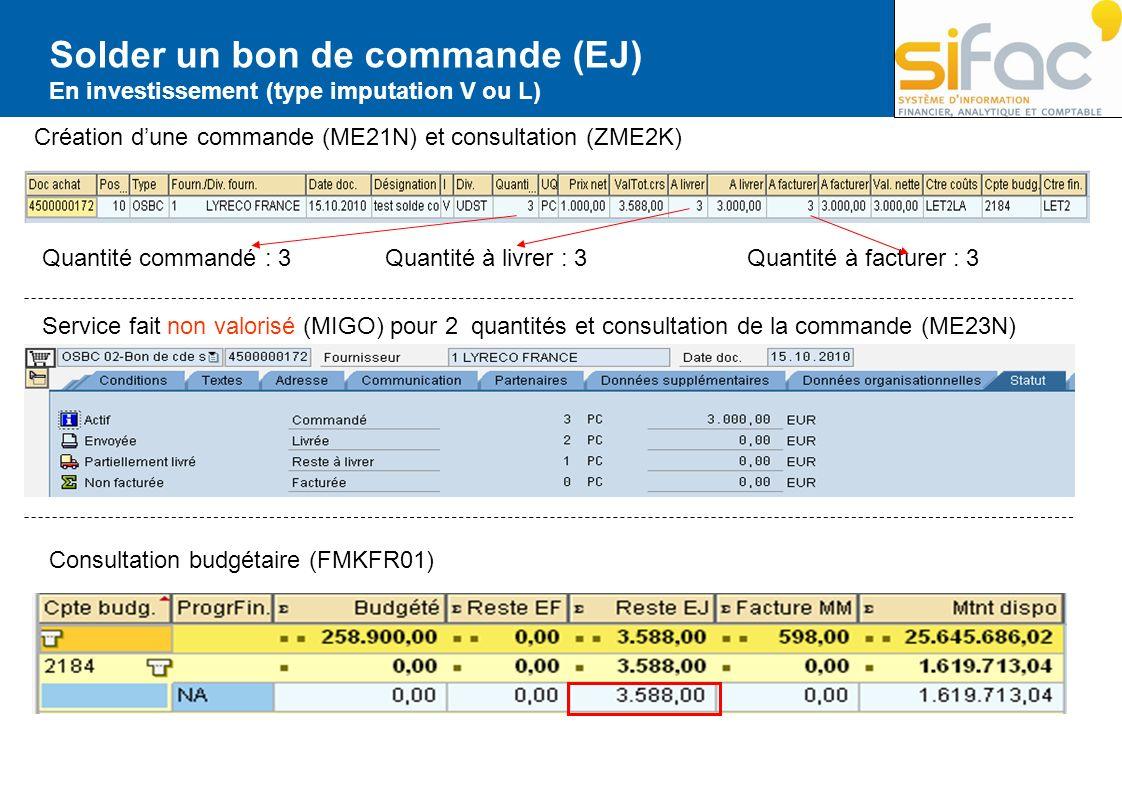 Solder un bon de commande (EJ) En investissement (type imputation V ou L) Création dune commande (ME21N) et consultation (ZME2K) Quantité commandé : 3