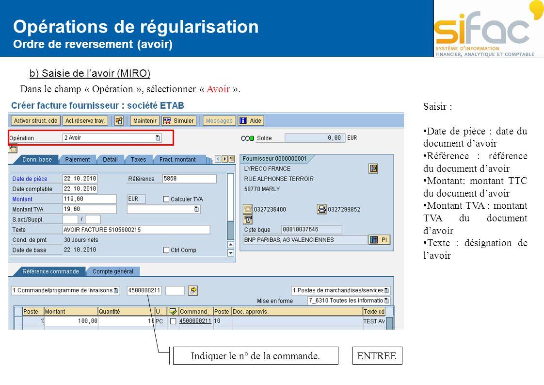 Opérations de régularisation Ordre de reversement (avoir) b) Saisie de lavoir (MIRO) Saisir : Date de pièce : date du document davoir Référence : réfé