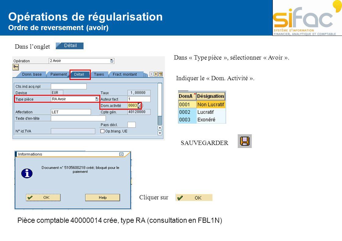 Opérations de régularisation Ordre de reversement (avoir) Dans longlet Dans « Type pièce », sélectionner « Avoir ». Indiquer le « Dom. Activité ». SAU