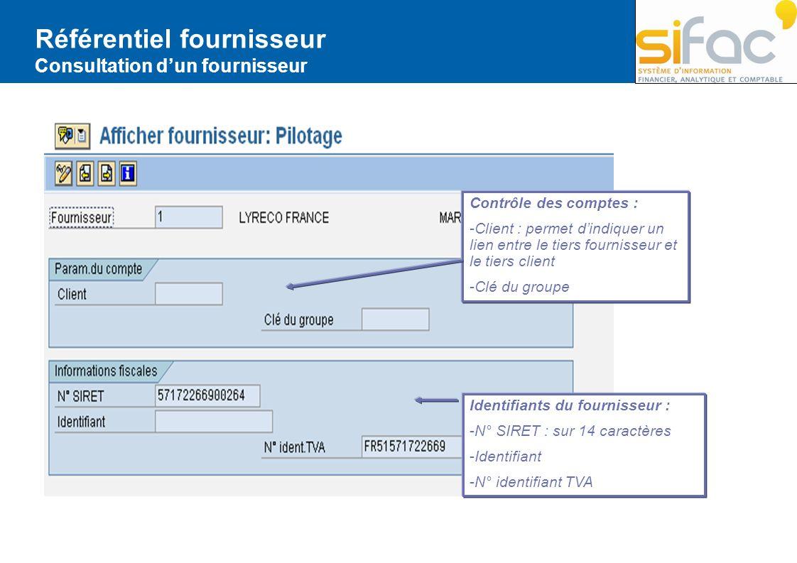Référentiel fournisseur Consultation dun fournisseur Contrôle des comptes : -Client : permet dindiquer un lien entre le tiers fournisseur et le tiers
