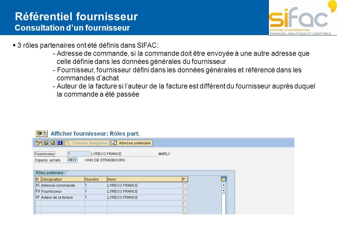 Référentiel fournisseur Consultation dun fournisseur 3 rôles partenaires ont été définis dans SIFAC: - Adresse de commande, si la commande doit être e