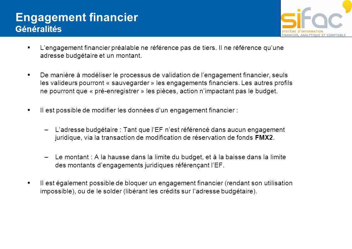 Engagement financier Généralités Lengagement financier préalable ne référence pas de tiers. Il ne référence quune adresse budgétaire et un montant. De