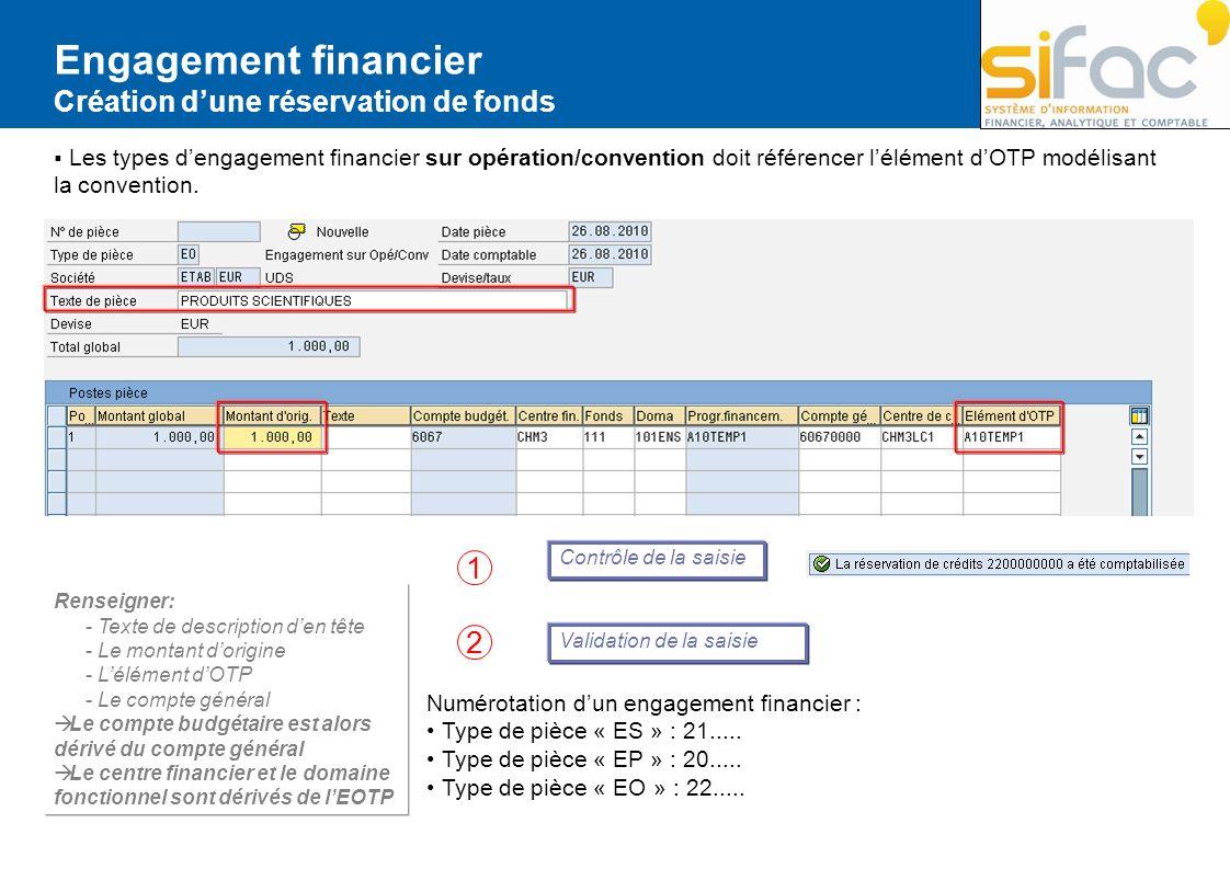 Engagement financier Création dune réservation de fonds Les types dengagement financier sur opération/convention doit référencer lélément dOTP modélis