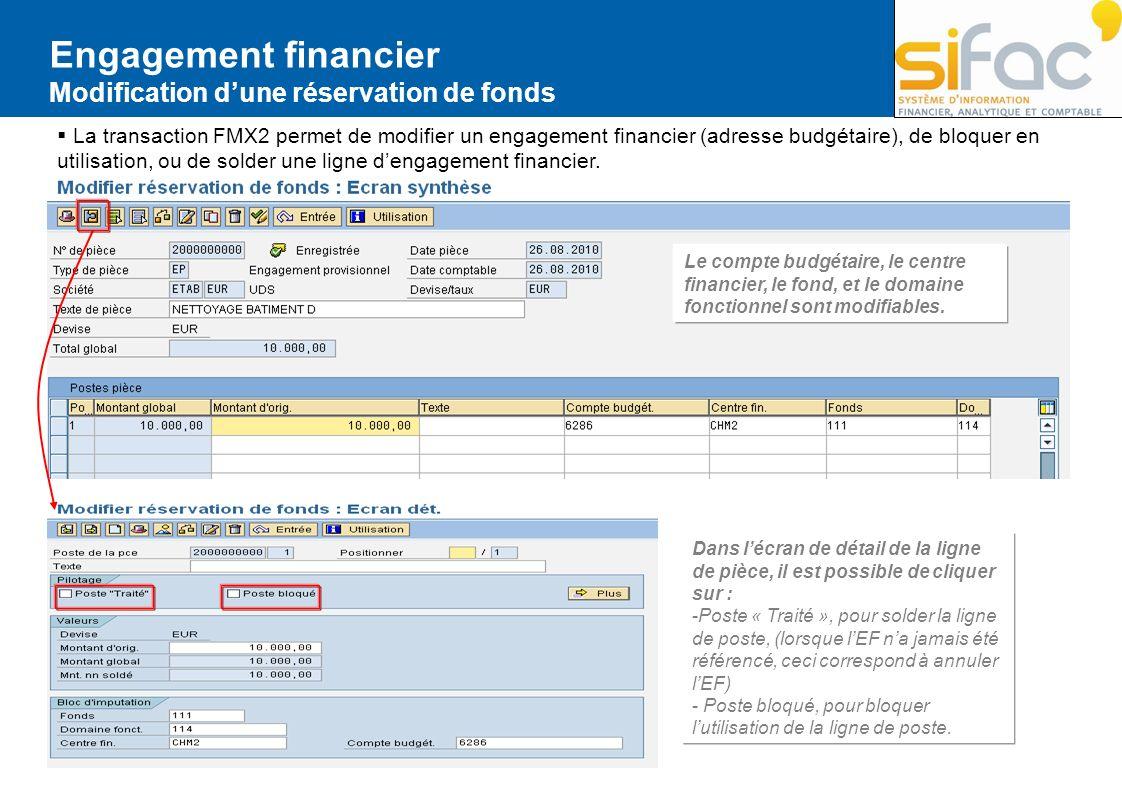 Engagement financier Modification dune réservation de fonds La transaction FMX2 permet de modifier un engagement financier (adresse budgétaire), de bl