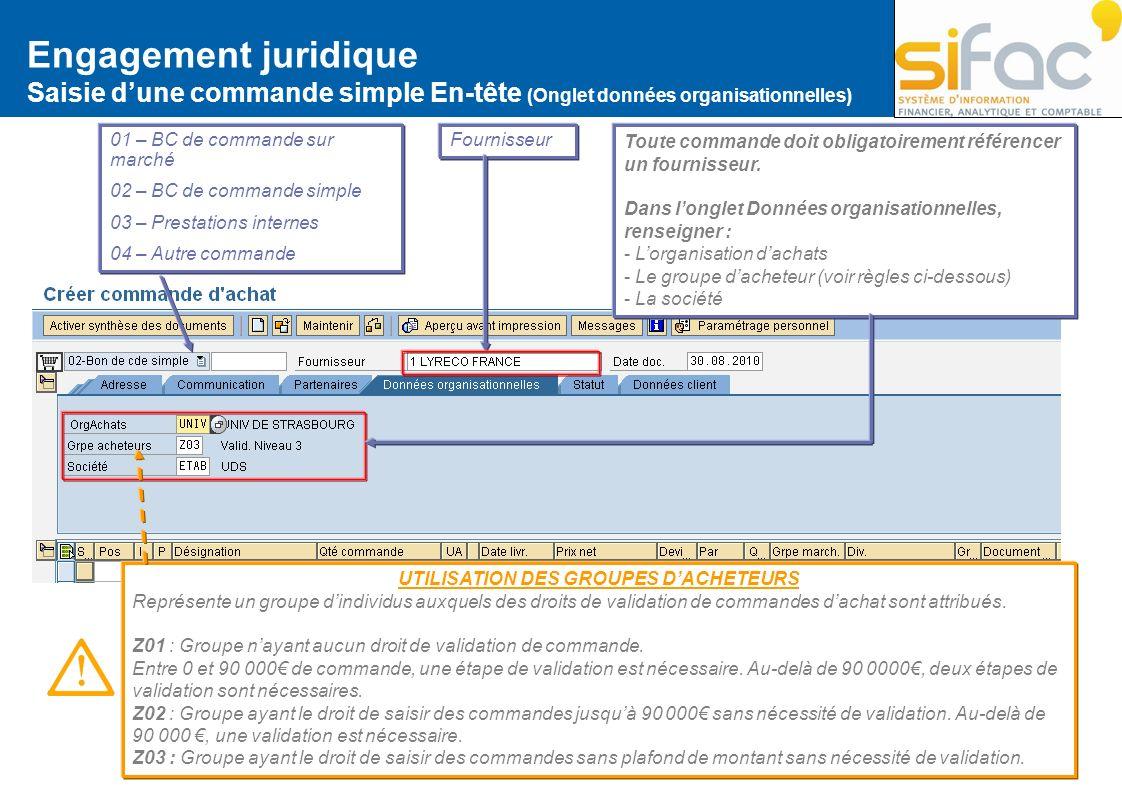 Engagement juridique Saisie dune commande simple En-tête (Onglet données organisationnelles) 01 – BC de commande sur marché 02 – BC de commande simple