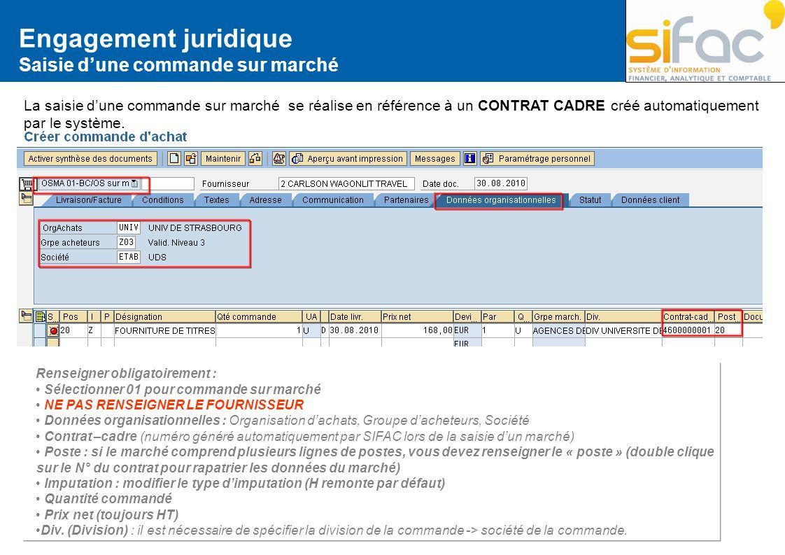 Engagement juridique Saisie dune commande sur marché La saisie dune commande sur marché se réalise en référence à un CONTRAT CADRE créé automatiquemen