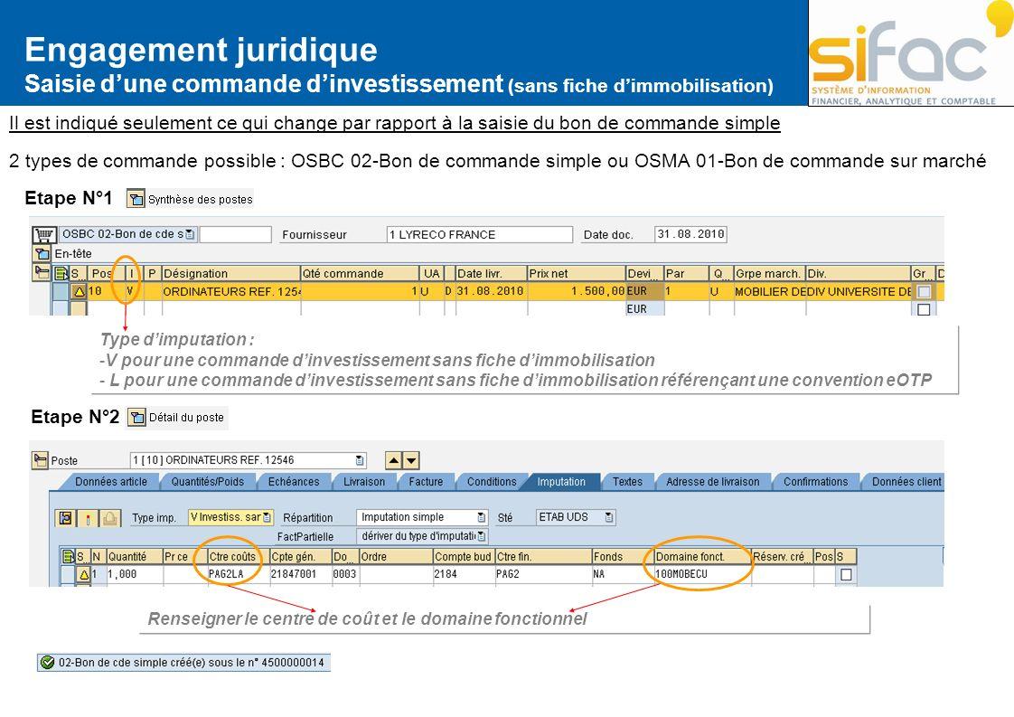Engagement juridique Saisie dune commande dinvestissement (sans fiche dimmobilisation) Il est indiqué seulement ce qui change par rapport à la saisie
