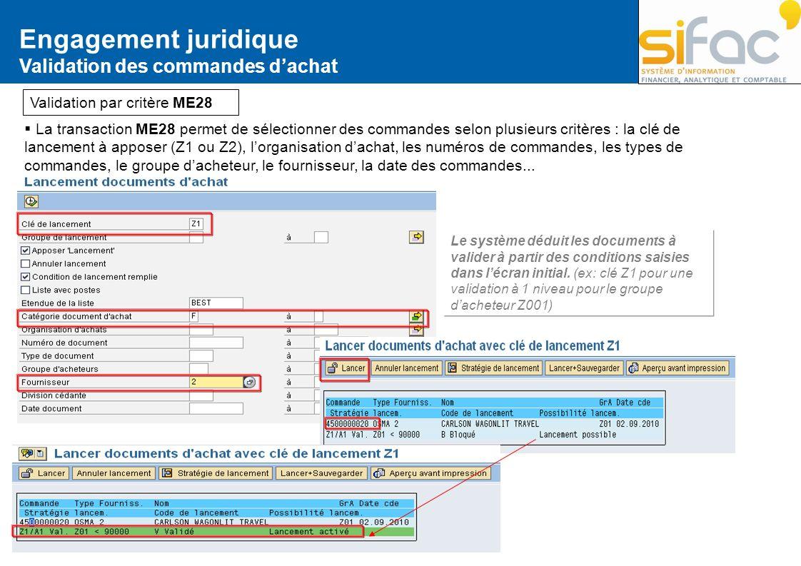 La transaction ME28 permet de sélectionner des commandes selon plusieurs critères : la clé de lancement à apposer (Z1 ou Z2), lorganisation dachat, le